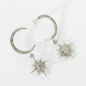 🌙Moon & star earrings silver tone w crystals new